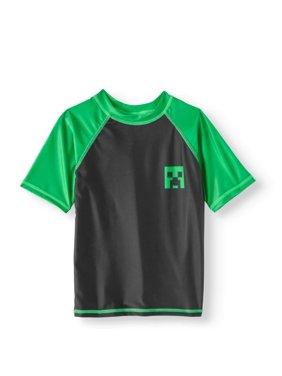 Minecraft Big Boys' Rash Guard Swim Shirt- Black/Green