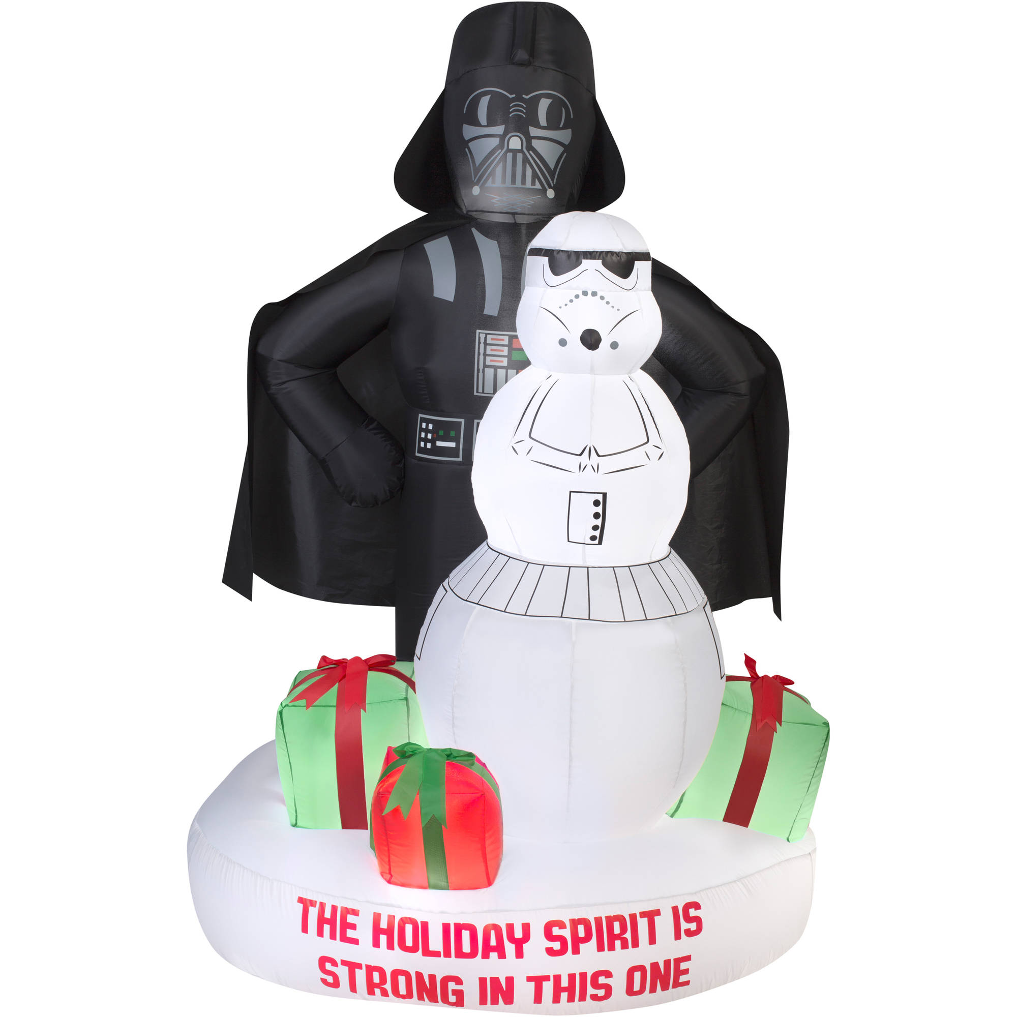 Gemmy Airblown Christmas Inflatables 6'  Darth Vader and Storm Trooper Snowman Scene