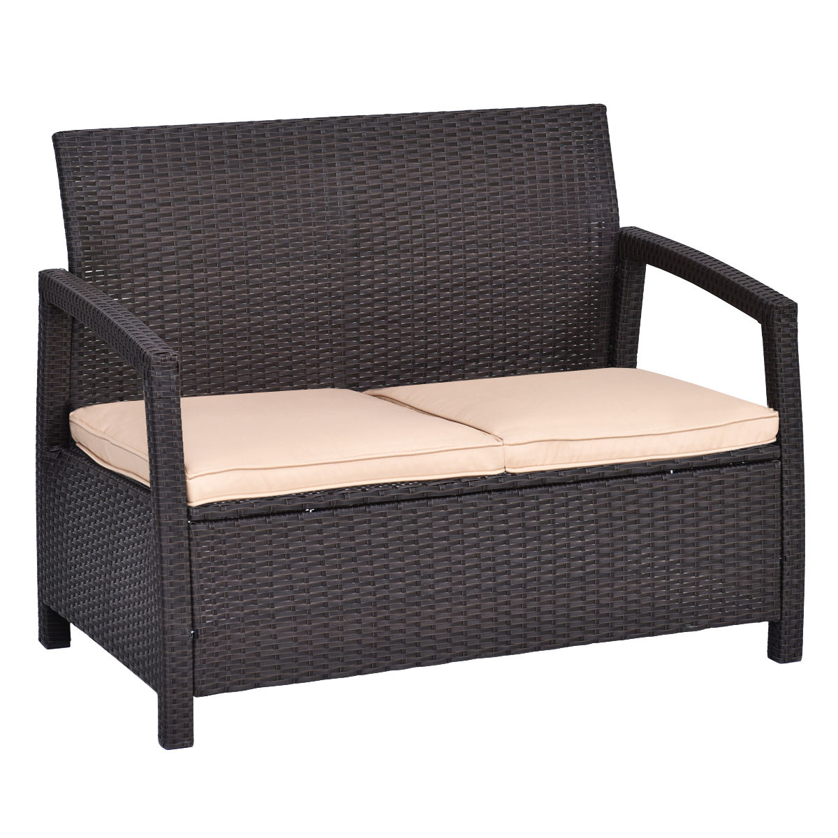Outdoor Rattan Loveseat Bench Couch Chair With Cushions Patio Furniture Brown by Goplus