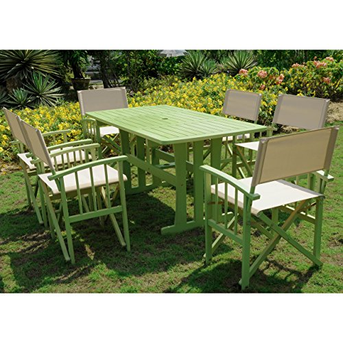 Messina Acacia Wood 7 Piece Dining Group-Mint Green