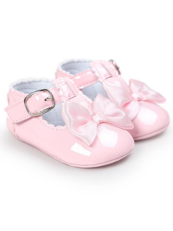 JLONG Newborn Infant Baby Girl Bowknot Anti-Slip Crib Shoes First Walkers