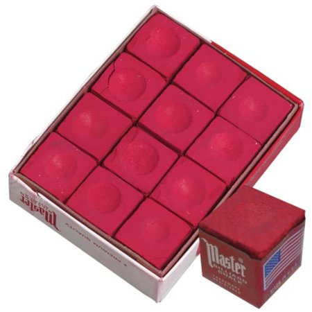 Master RED Pool Billiard Cue Q Stick Chalk Doz. Box 12-Pack 1 Dozen 12 pack