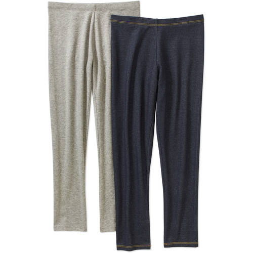 Faded Glory Girls Essential Leggings, 2 pack