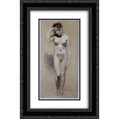 Pierre Paul Prud'hon 2x Matted 18x24 Black Ornate Framed Art Print 'Drawing of Female Nude with charcoal and chalk' Drawing Nude Female Art