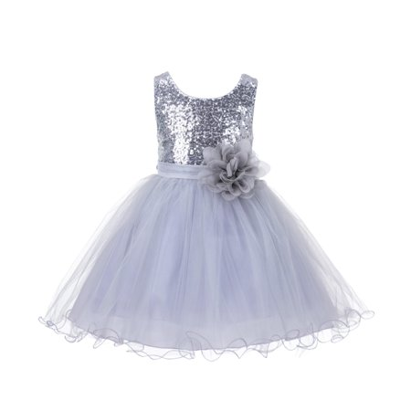 Ekidsbridal Glitter Sequin Tulle Flower girl Dress Toddler Bridal Summer Easter Pageant Wedding Special Occasions Bridesmaid First Communion Reception Graduation Birthday Party Princess Gown (First Birthday Princess Dress)