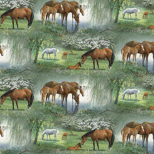 """Springs Creative Wild Wings Willow Brook Scenic 44"""" wide Fabric by the Yard"""