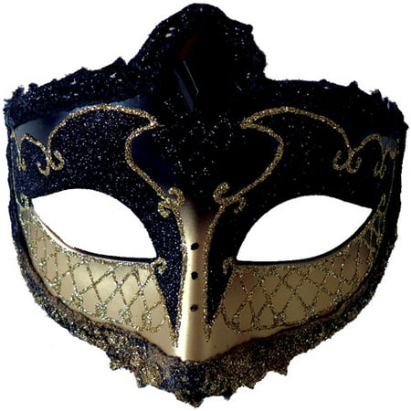 Black and Gold Mardi Gras Mask Adult Accessory - Masquerade Suits
