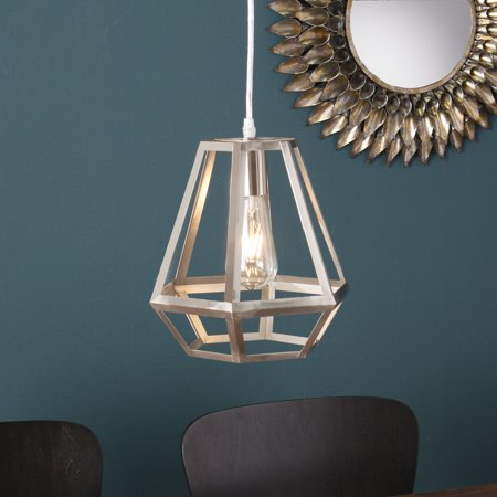 Polished Nickel Lantern Pendant (Southern Enterprises Donatello Caged Lantern Pendant Lamp, Brushed)