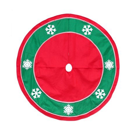 Northlight 46 in. Snowflakes and Candy Cane Trim Christmas Tree Skirt (Snowflake Candy)