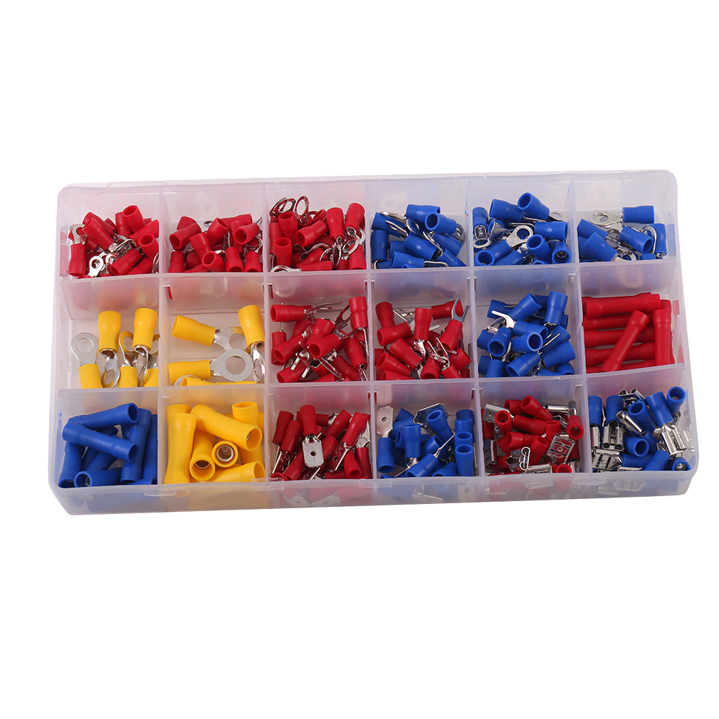 Terminals Crimp Connectors 300Pcs Insulated Electrical Wire Terminals Crimp Connectors Red Yellow Blue