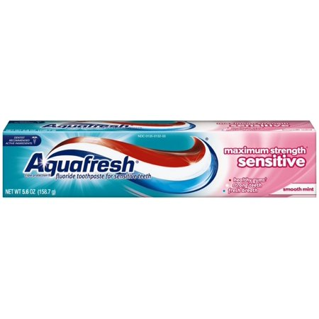 Aquafresh Flavored Toothpaste - 6 Pack - Aquafresh Maximum Strength Sensitive + Gentle Whitening Toothpaste, Smooth Mint 5.6 oz