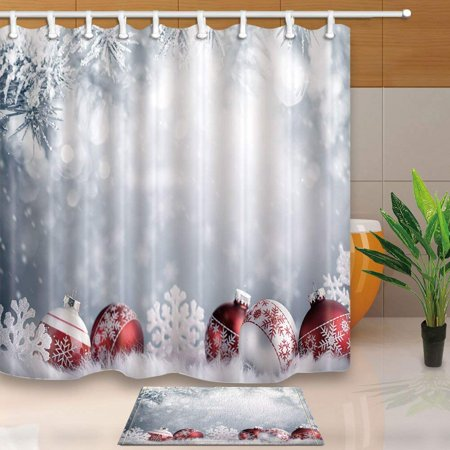 ARTJIA New Year Decor Christmas Balls in Winter Setting Shower Curtain 66x72 inches with Floor Doormat Bath Rugs 15.7x23.6 inches ()