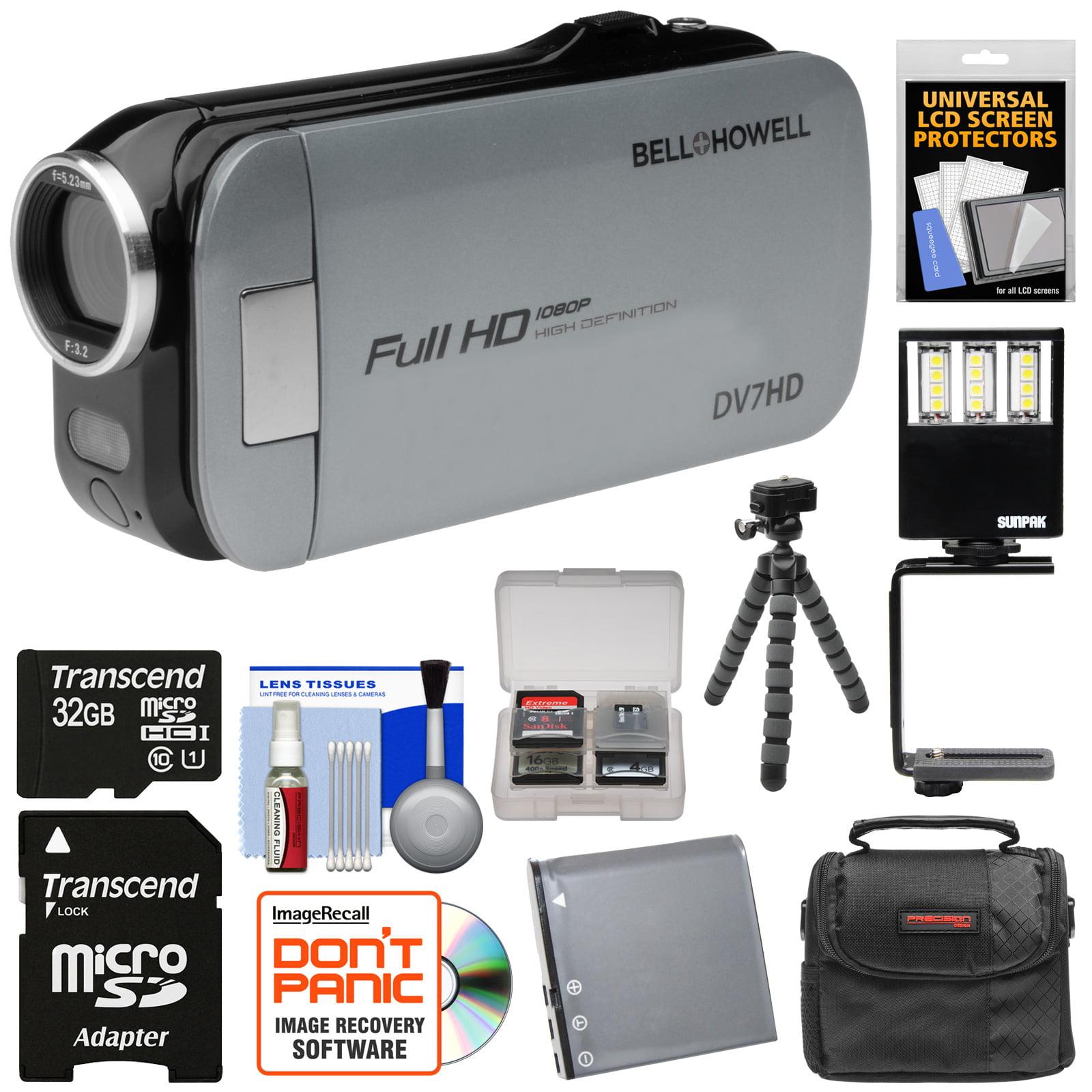 Bell & Howell Slice2 DV7HD 1080p HD Slim Video Camera Camcorder (Gray) with 32GB Card + Battery + Case + Flex Tripod + LED Video Light + Kit