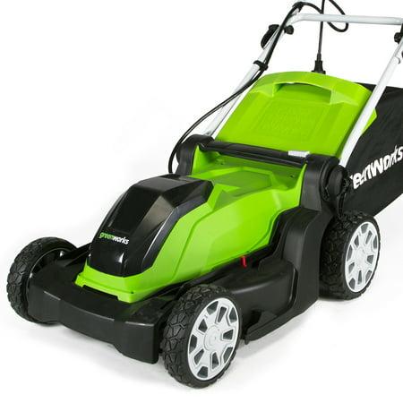 Greenworks 10 Amp 17 in. Corded Electric Walk Behind Push Lawn Mower, 2507502