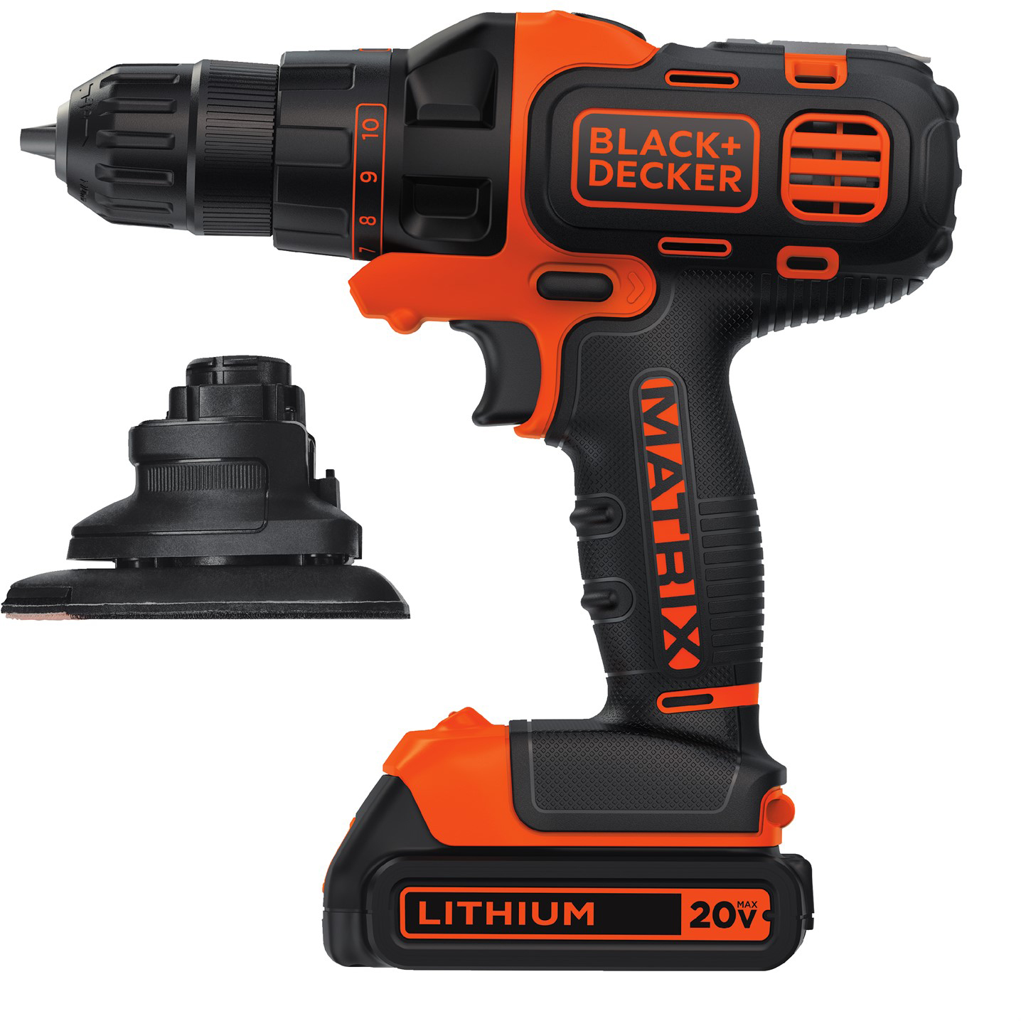 BLACK+DECKER™ BDCDMT120DSB MATRIX™ 20V Max* Lithium-Ion Cordless Drill & Sander Attachment