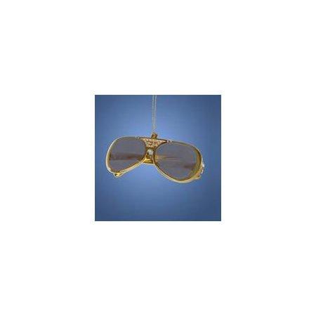 Club Pack of 24 Gold Elvis Presley Retro Sunglasses Christmas Ornaments