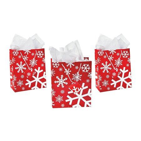 Dozen Gift (IN-13615977 Medium Red & White Snowflake Gift Bags Per Dozen )