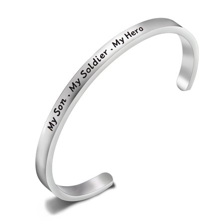 My Son My Soldier My Hero Bracelet Soldier Mom Cuff Bracelet Army Mom Navy Mom Air Force Mom Military Jewelry (Army Mother Of Pearl Bracelet)