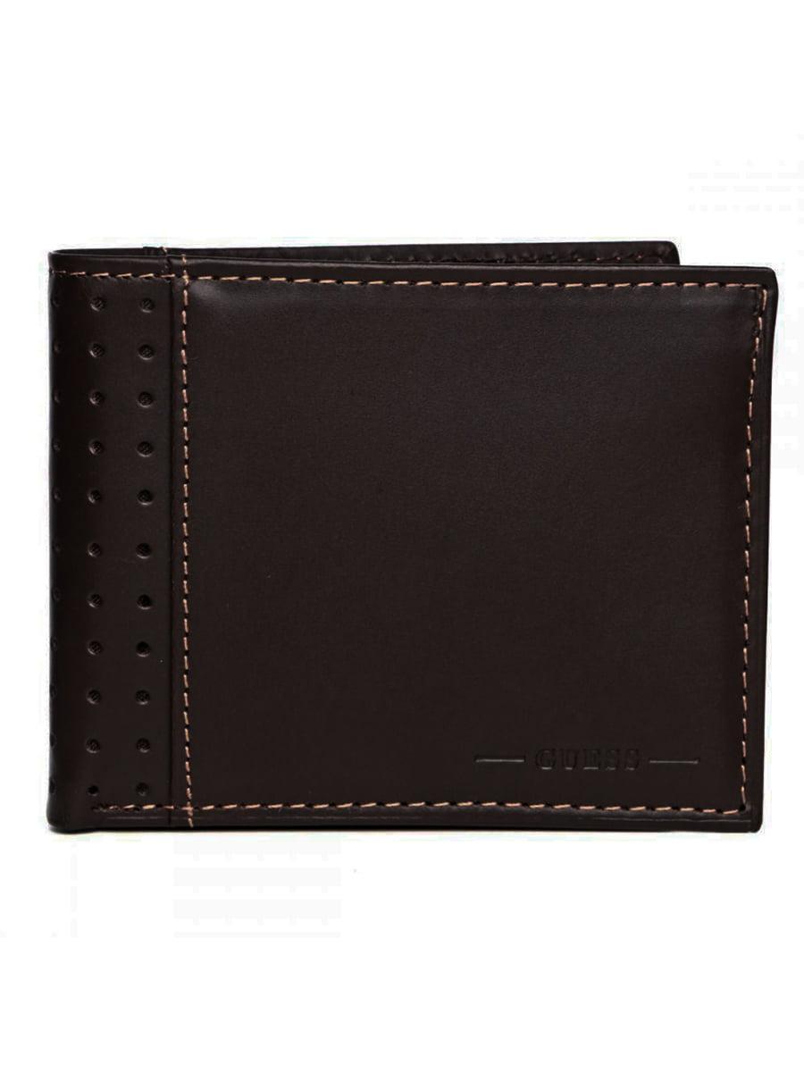 Guess Men/'s Leather Credit Card Bifold Wallet Billfold 31gu22x035 Brown