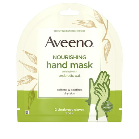 Aveeno Moisturizing Hand Therapy Mask with Oat, 1 Pair of Gloves (Hand Lotion Gloves)