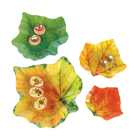 Leaf Serving Dish - Autumn Leaf Plates Glass Serving Dishes - Set of 4