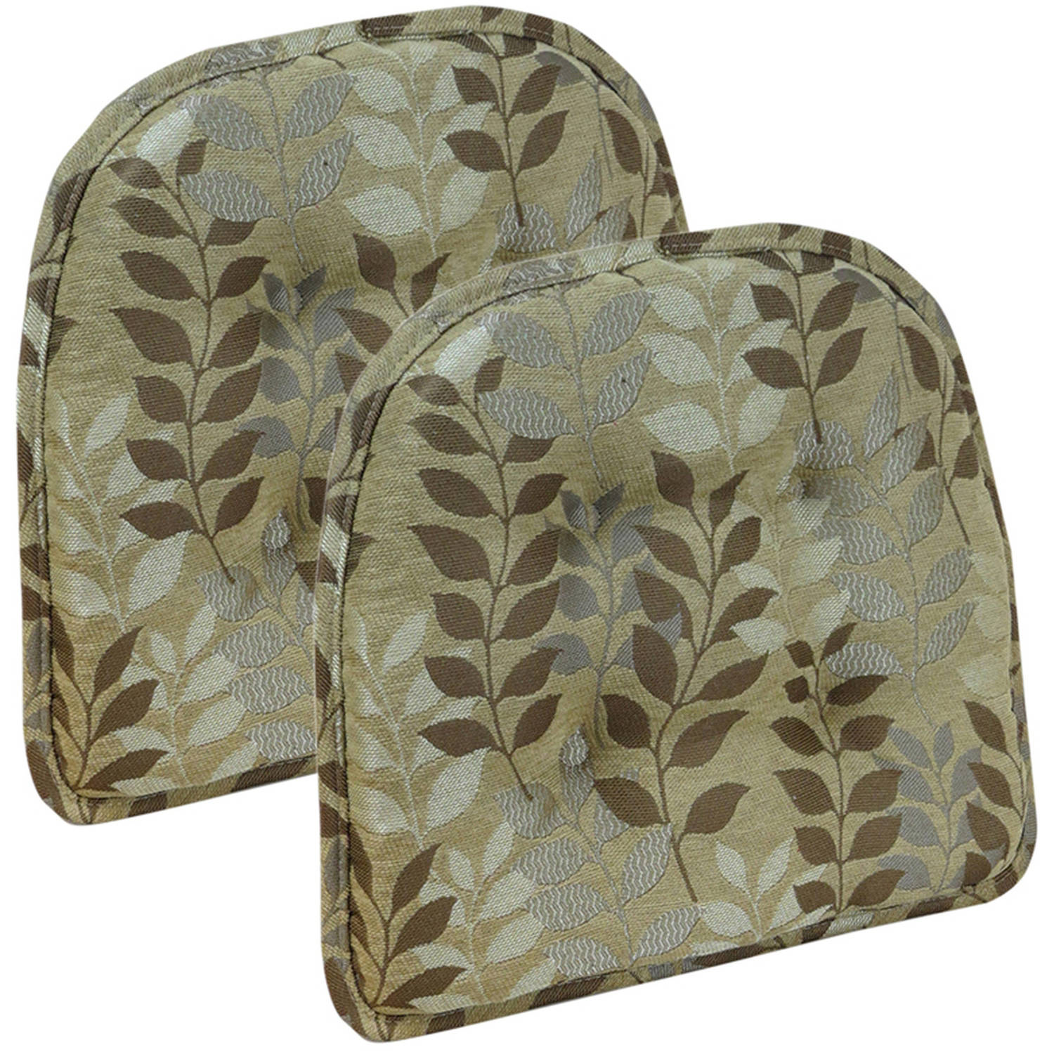 "Gripper Non-Slip 15"" x 16"" Dora Ascending Leaves Tufted Chair Cushions, Set of 2"