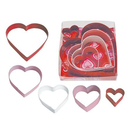 Valentine's Hearts Color 5 Piece Cookie Cutter Set - - Valentine Cookie