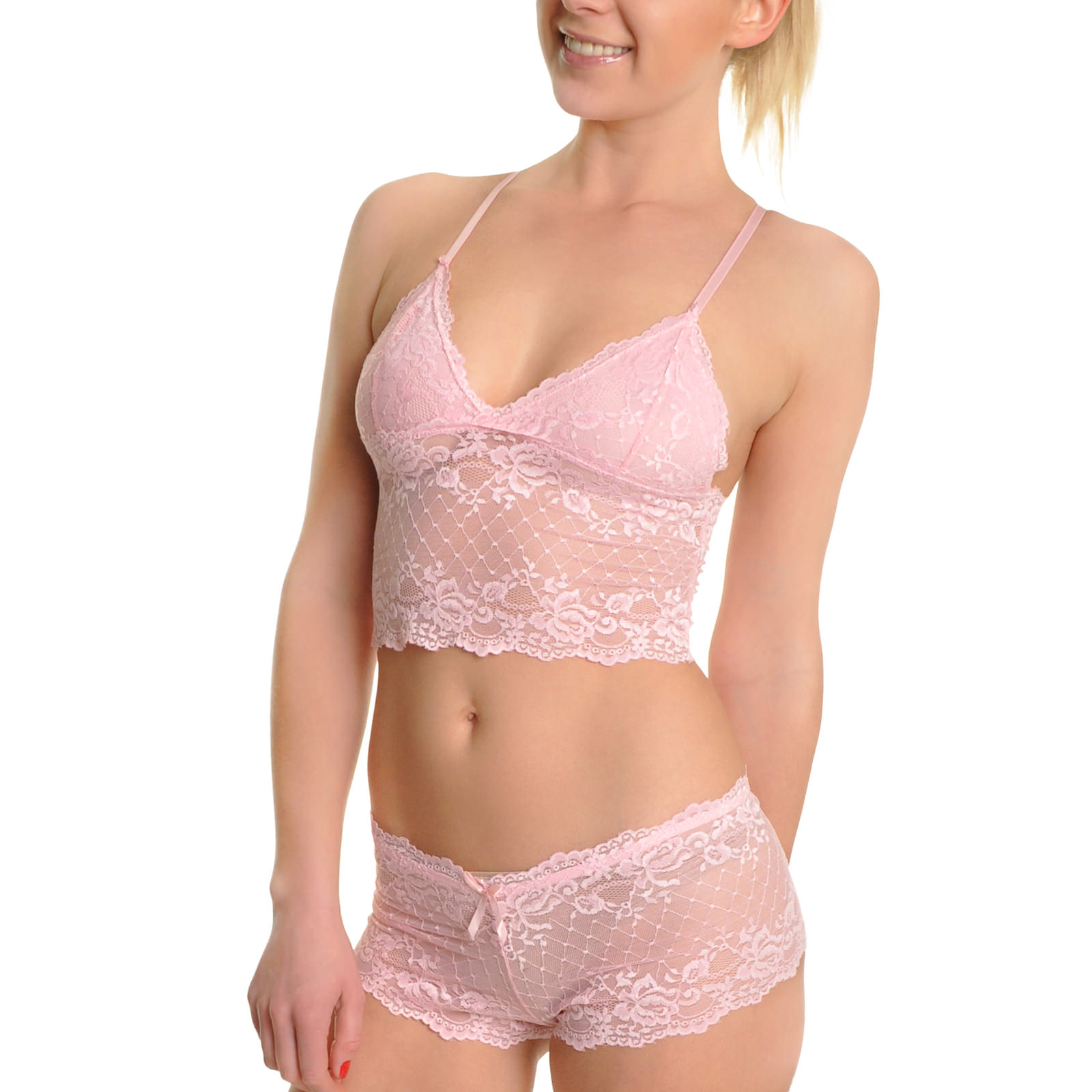 Angelina 2-Set Lace Cami Top and Boxer Shorts Lingerie Set