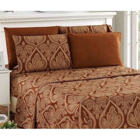 Lux Decor Collection Egyptian Quality Paisley Printed Bed Sheet Set Choclate Queen (1 Fitted Bed Sheet, 1 Flat Sheet, 4 Pillow Covers) - 1800 Series Deep Pocket Stain Resistant Bed