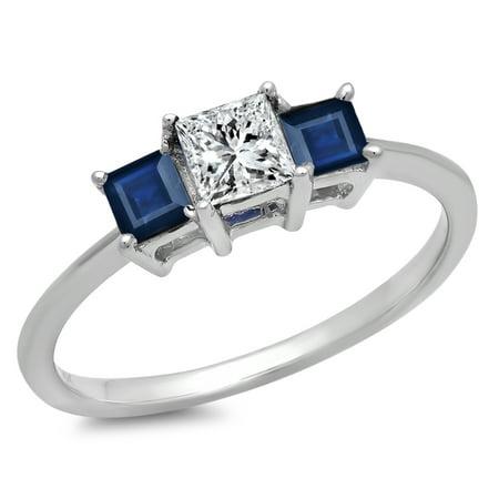 Dazzlingrock Collection 18K Princess White Diamond and Blue Sapphire Ladies Bridal 3 Stone Ring, White Gold, Size 5