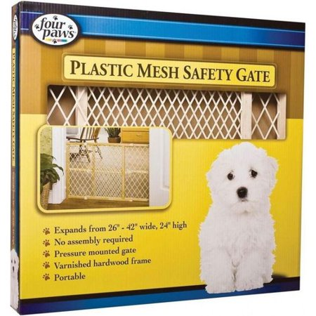 Four Paws Plastic Mesh Safety Gate Wooden Gate    Expands 26 Inch   42 Inch Wide X 24 Inch Tall