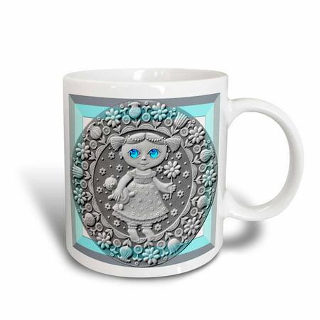 3dRose Zodiac Series Metal Virgo Look Art, Ceramic Mug, 15-ounce (Sylvania Metal Arc Ceramic)
