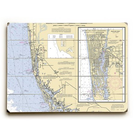 Longshore Tides 'FL: Naples, FL Nautical Chart Sign' Graphic Art Print on Wood