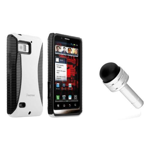 Insten Black/White Color Hybrid Hard Case TPU Skin Cover for Motorola Droid Bionic XT875 Phone