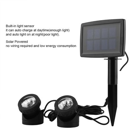 Head Outdoor Garden - Anauto Solar Power 12LED Dual Head Underwater Lamp Spotlight Outdoor Garden Pond Lighting White Light, Solar Outdoor Lamp,Solar Underwater Light