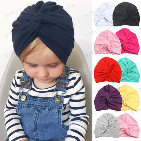 Infant Baby Turban Toddler Kids Boy Girl Cotton Blends Hat Lovely Soft Cute (Toddler Pink Cowgirl Hat)