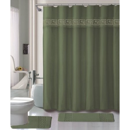 Sage Green Shower Curtain Set 4 Piece Set With Rugs And