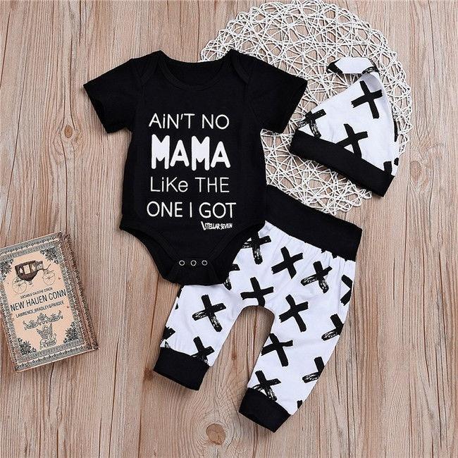 Newborn Baby Boy Girls MAMA Print Tops Romper +Long Pants Leggings Hat Outfits Set Clothes