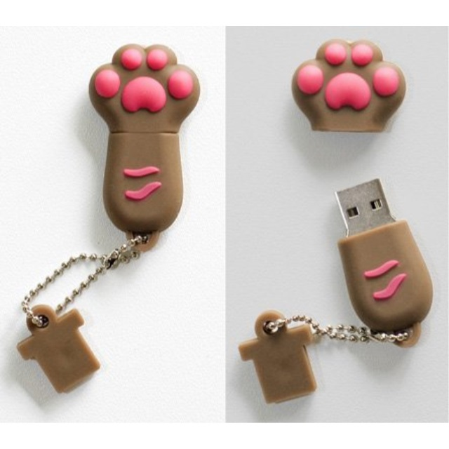 "Premium Brown ""Paw"" USB Flash Memory Drive 16GB"