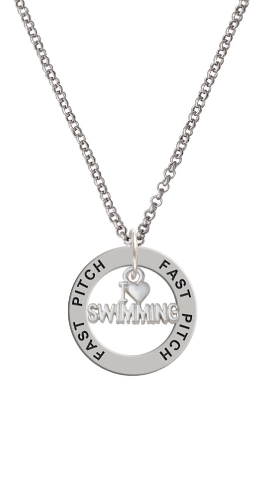 I Heart Swimming Fast Pitch Affirmation Ring Necklace by Delight and Co.