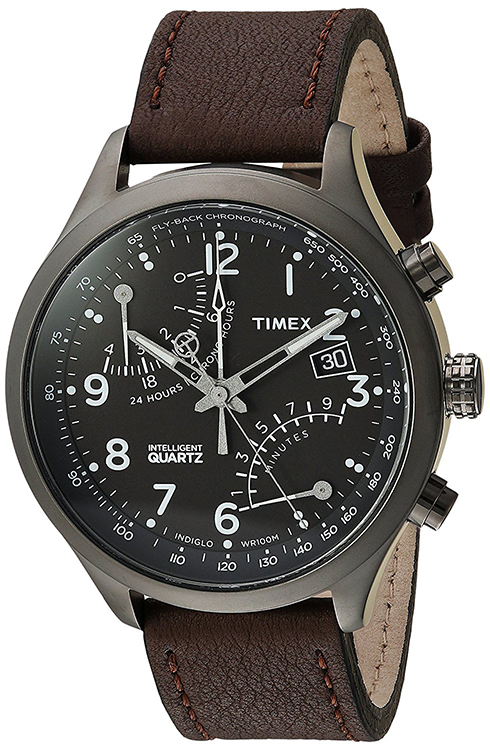 Timex Men's Intelligent Fly Back Chrono Brown Leather Strap Watch TWH3Z6110 by Timex Corporation
