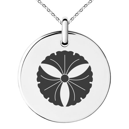 Leaf Design Circle Pendant (Stainless Steel Tree Ginkgo Leaves Kamon Crest Engraved Small Medallion Circle Charm Pendant Necklace )