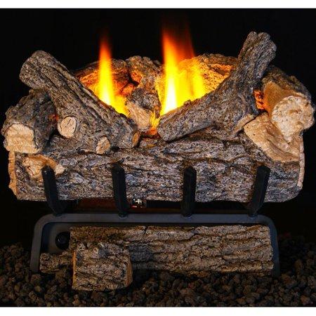 24 Inch Natural Gas Burner - Peterson Real Fyre 24-inch Valley Oak Log Set With Vent-free Natural Gas Ansi Certified 9,500 Btu G8-r Burner - Manual Safety Pilot