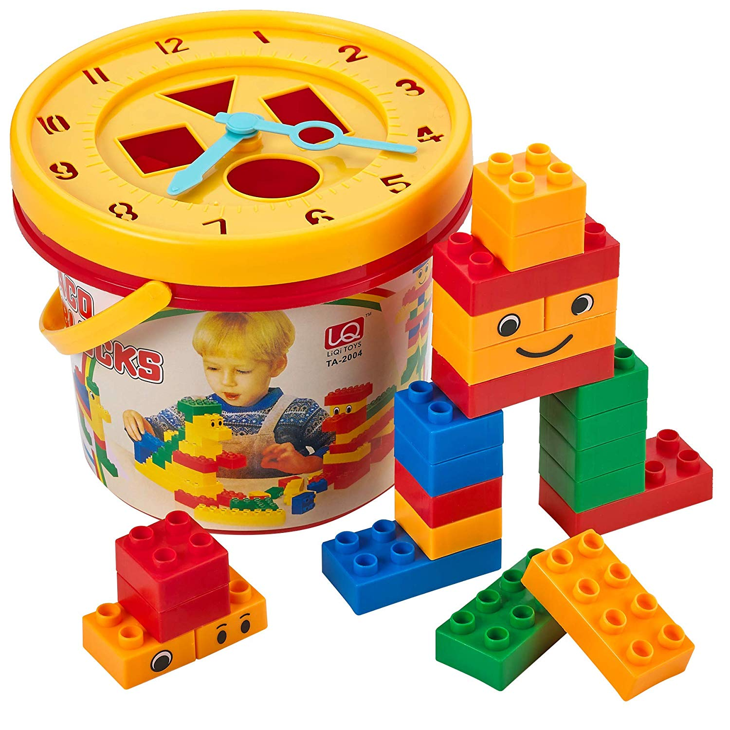Kicko Building Block Bucket - 33 pc Building Blocks w ...