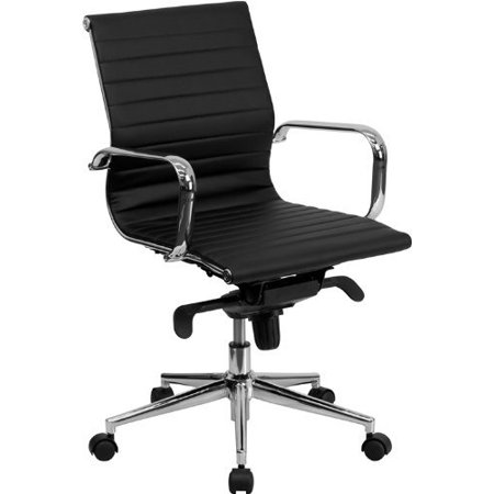 Modern Style Modern Low back Chair Ribbed PU leather with wheels arms Arm Rest w/Tilt Adjustable seat Designer Boss Executive Office Chair Work Task Computer Executive Chair Swivel Chair