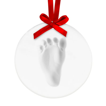 Tiny Ideas Babyprints Holiday Ornament, Round Tiny Ideas Holiday Handprint or Footprint Ornament helps you remember how small your wee baby was on their first Christmas. Each day your sweetie gets just a little bigger, a touch more headstrong and full of curiosity. Even their grasping hands and plump tootsies seem to be growing overnight. The Tiny Ideas Clay Handprint or Footprint Ornament keepsake lets you capture an impression of their handprint or footprint in lightweight, easy-to-work-with clay. It's a bittersweet delight to look back at this baby keepsake and see just how far your little one has come. Time and again, you'll sigh with nostalgia when you gaze at this darling keepsake ornament. The Clay Baby Print Keepsake is simple to use as well and can make a footprint ornament or a handprint ornament. This baby memento includes everything you need to make adorable impressions of baby's handprint or baby's footprint. You'll receive no-mess impression clay, a rolling pin, a plastic hole punch and shaping ring, along with several grosgrain ribbons for use as a decoration. Don't fret over baby! The clay boasts a non-toxic, baby-safe formula that's ready mold and shape with a darling handprint or footprint front and center. Tips and tricks: for best handprint or footprint make sure baby is fed, changed and calm. Use rolling pin to desired thickness. Flatten baby's feet or hands and press against the impression clay. Cut, shape and punch a hole for the ribbon. Make sure to include this baby keepsake on your baby gift registry. We know this charming keepsake also makes a perfect holiday gift, Christmas gift or baby shower gift.