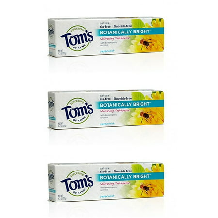 Tom's Of Maine Botanically Bright SLS-free Whitening Paste Peppermint Peppermint 4.7 Ounce (Pack of 3), Brought to you by Toms Of Maine By Toms of Maine From USA (Toms Usa Online)