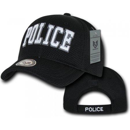 RapDom Police Text Public Safety Mens Air Mesh Cap [Black - Adjustable]