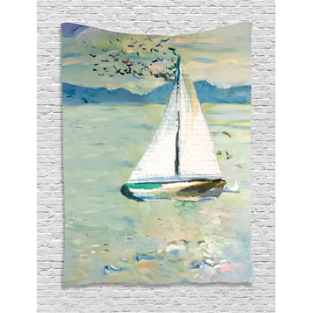 Art Tapestry, Monet Sailing Boat Yacht with Birds Watercolor Brushstroke Composition, Wall Hanging for Bedroom Living Room Dorm Decor, Pale Blue Teal and White, by Ambesonne ()
