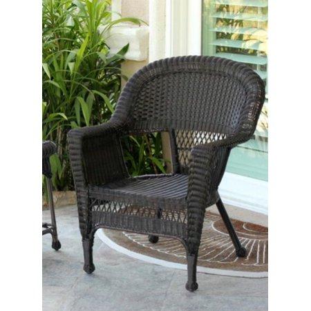 Set Of 4 Espresso Brown Resin Wicker Outdoor Patio Garden Chairs
